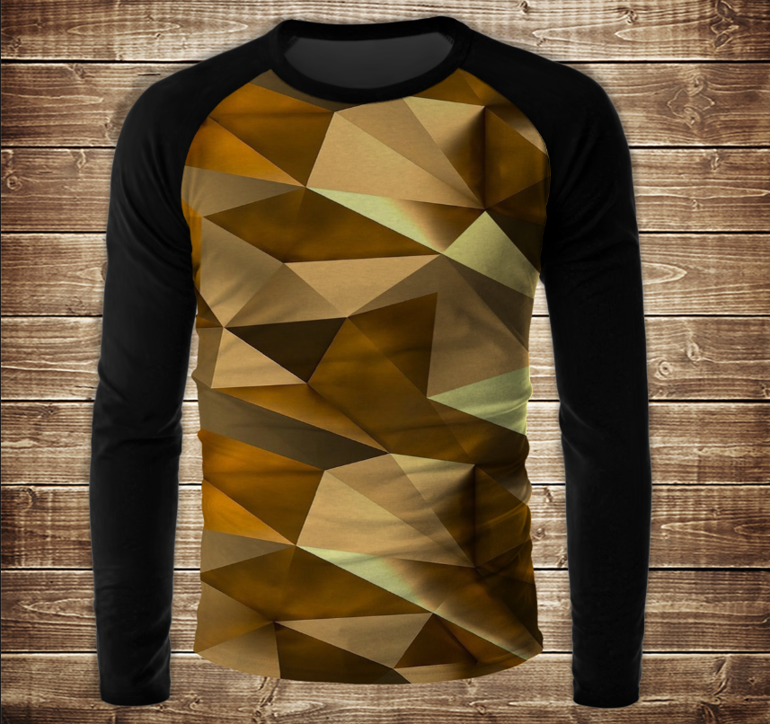 Лонгслів - реглан UNISEX з 3D принтом-  Золотий кубізм