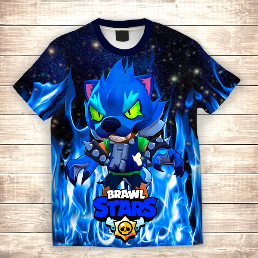 Футболка 3D дитяча Leon Werewolf in Blue Fire Brawl Stars
