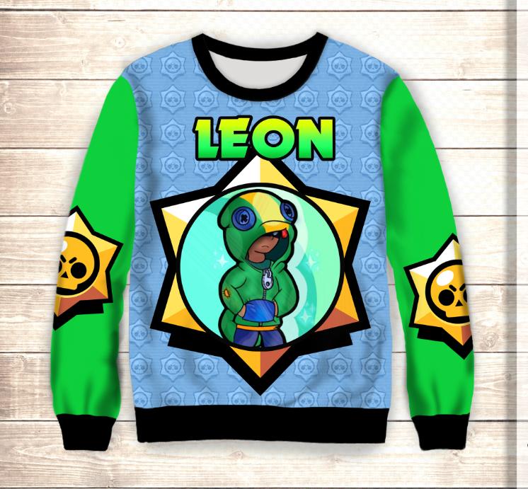 Світшот 3D Leon Neon Stars Brawl Stars