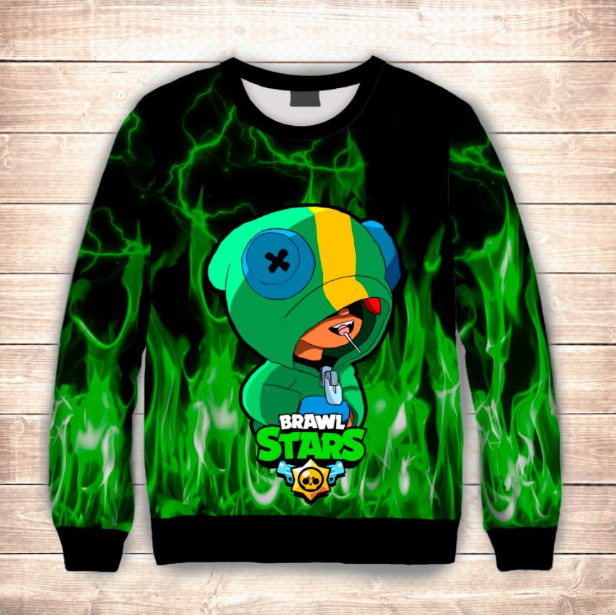 Світшот дитячий 3D Leon Green Fire Brawl Stars
