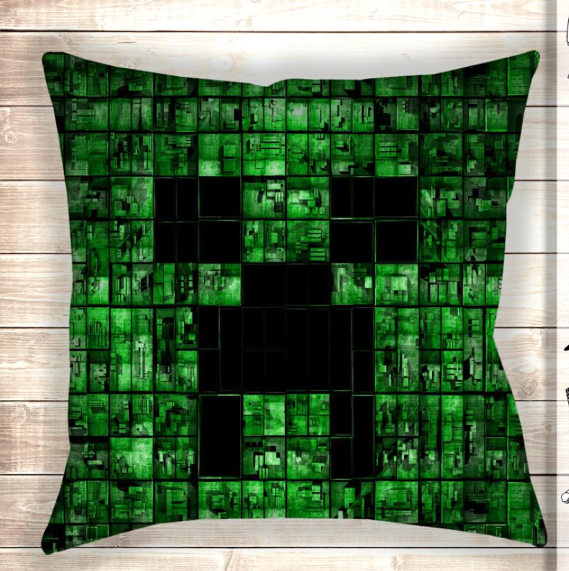 Подушка Minecraft my life Крипер Холлофайбер|Синтепон