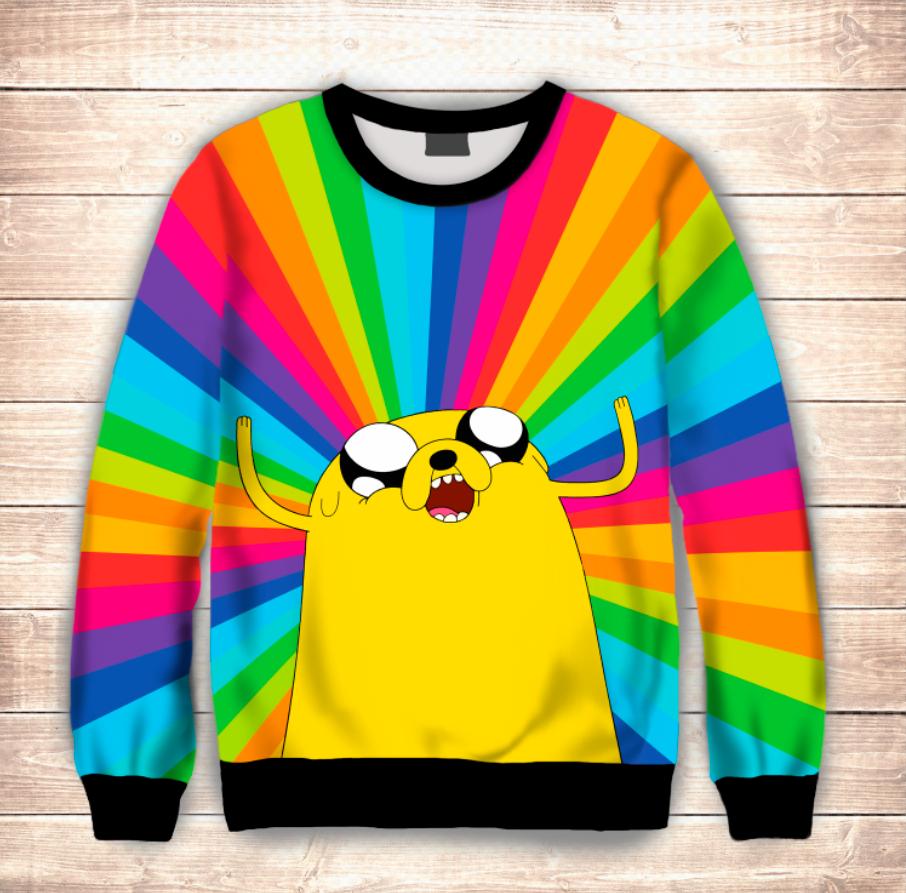 Світшот 3D Adventure time Jake/Свитшот Радужный Джейк