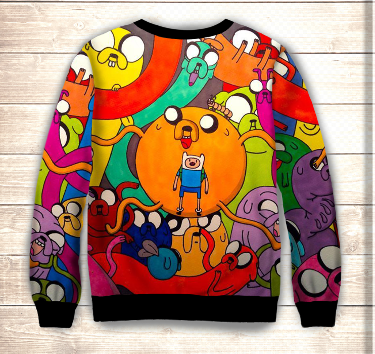 Світшот 3D Adventure time/Свитшот Джейк и Финн коллаж