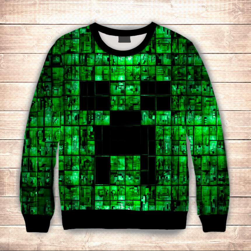 Свитшот 3D MINECRAFT GREEN