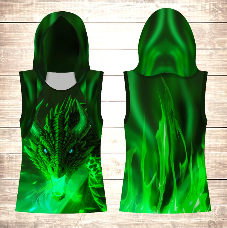 Майка 3D з капюшоном Green Dragon