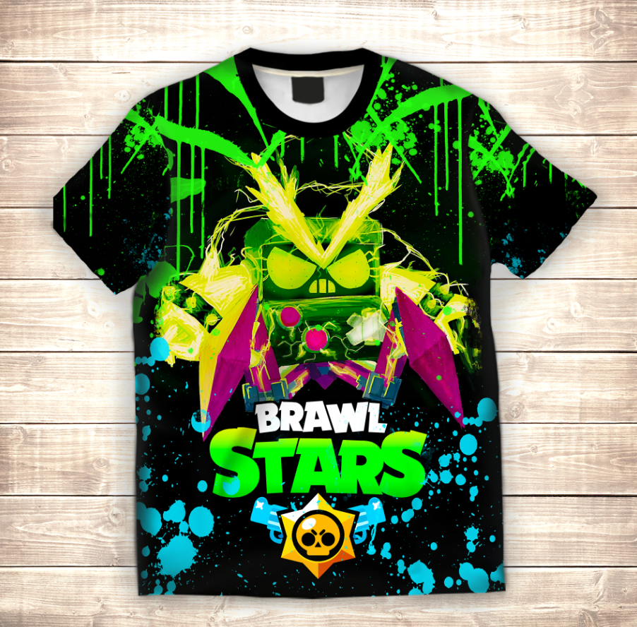 Футболка 3D дитяча Virus 8 Bit Neon Brawl Stars