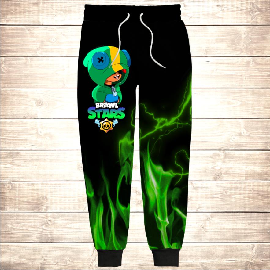 Штани 3D Леон зелений вогонь / Leon Green Fire Brawl Stars