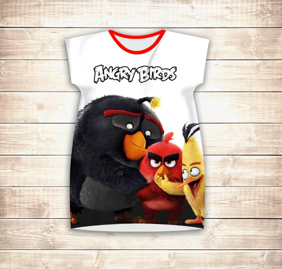 Плаття - туніка 3D Angry Birds Friends Дорослі і дитячі розміри
