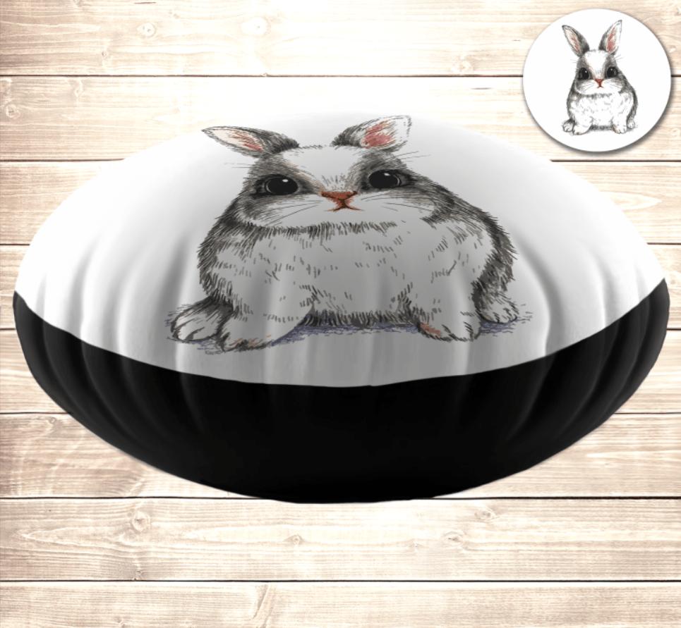 Кругла подушка- пуфік з принтом Милий білий кролик