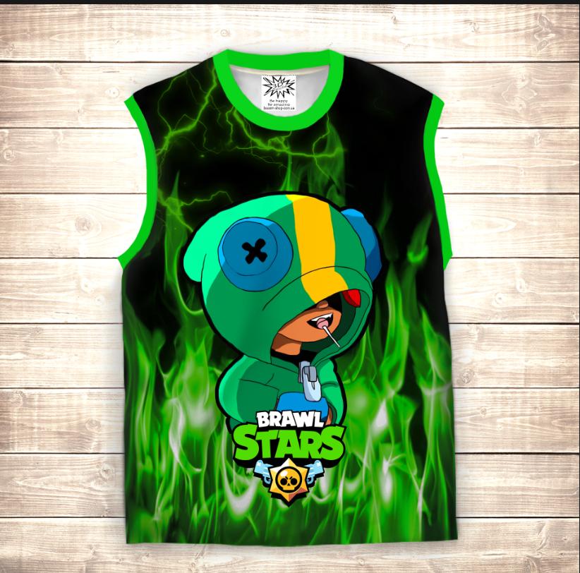 Майка хуліганка 3D дитяча Leon Brawler in Green Fire Brawl Stars