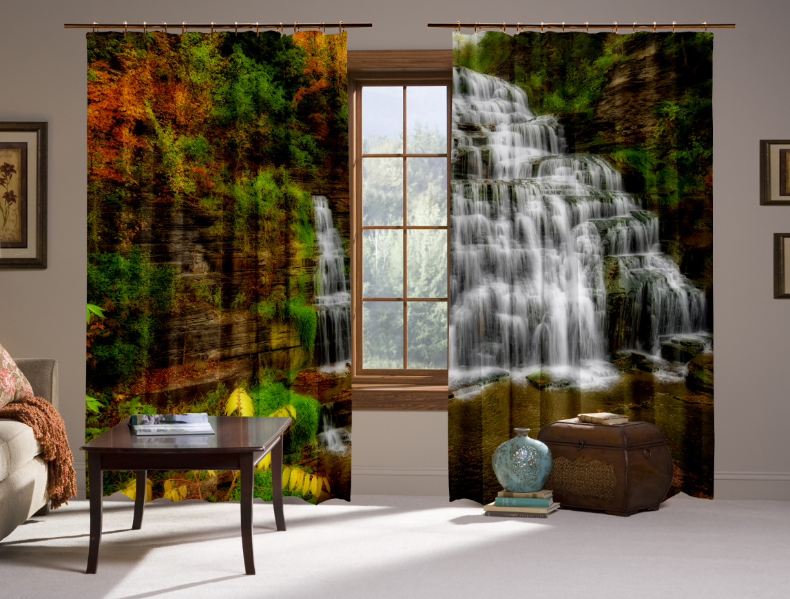 Штори 3D Водоспад (2) (2 шт. комплект)