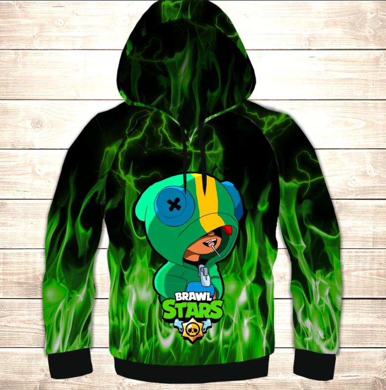 Толстівка (толстовка) дитяча 3D Leon Green Fire Brawl Stars