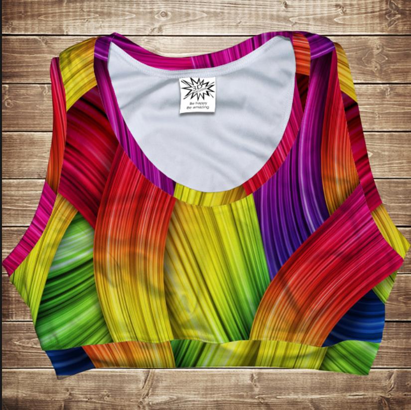 Топ спортивний 3D Rainbow color