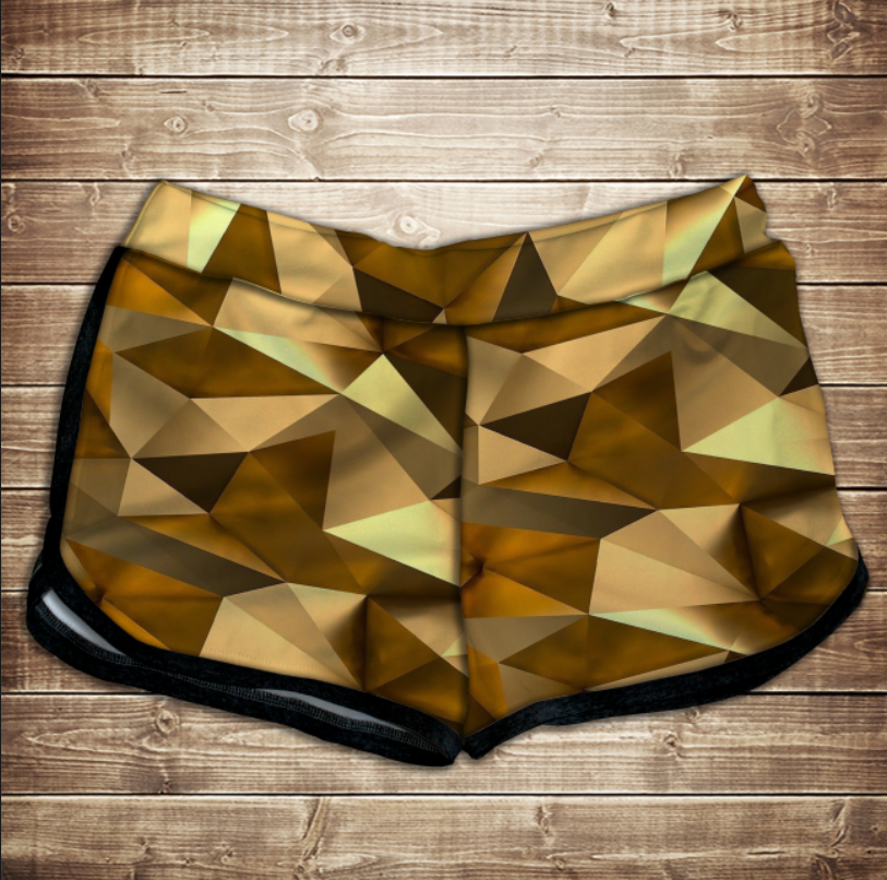 Шорти 3D принт жіночі -   Золотий кубізм