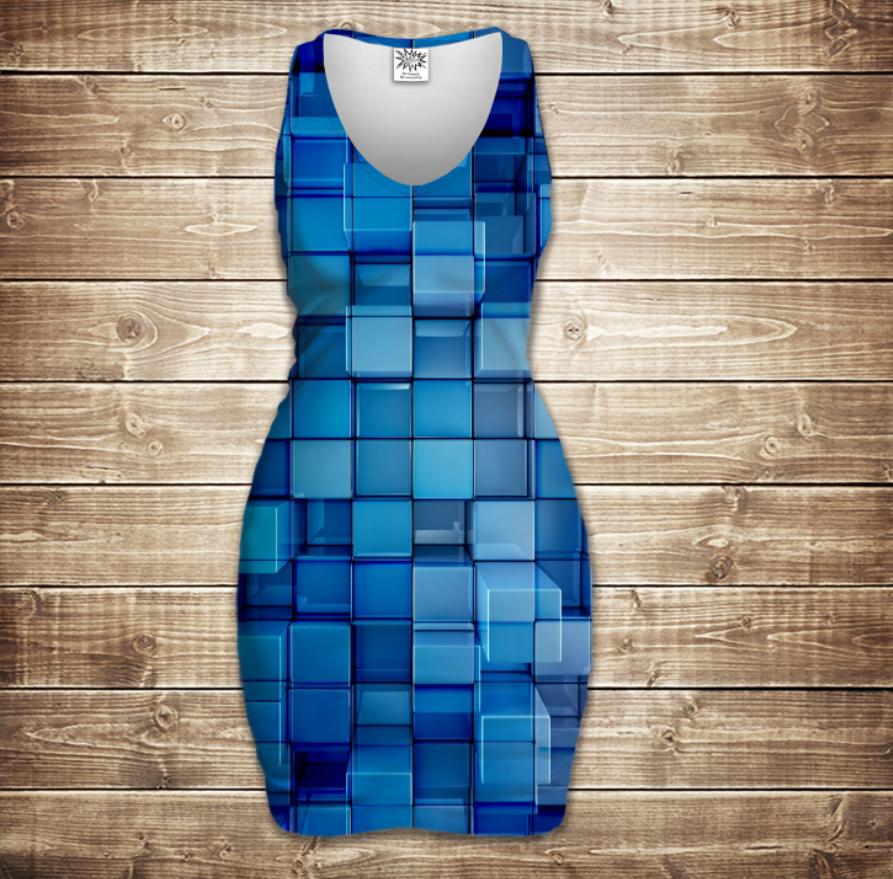 Плаття - майка 3D - Блакитні кубики