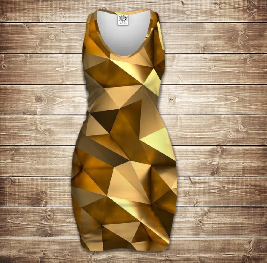 Плаття - майка 3D -   Золотий кубізм