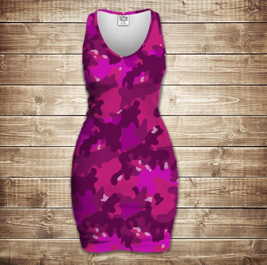 Плаття - майка 3D -  Pink camuflage