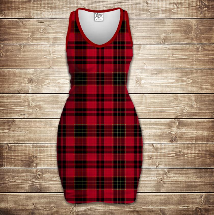 Плаття - майка 3D - Red tartan