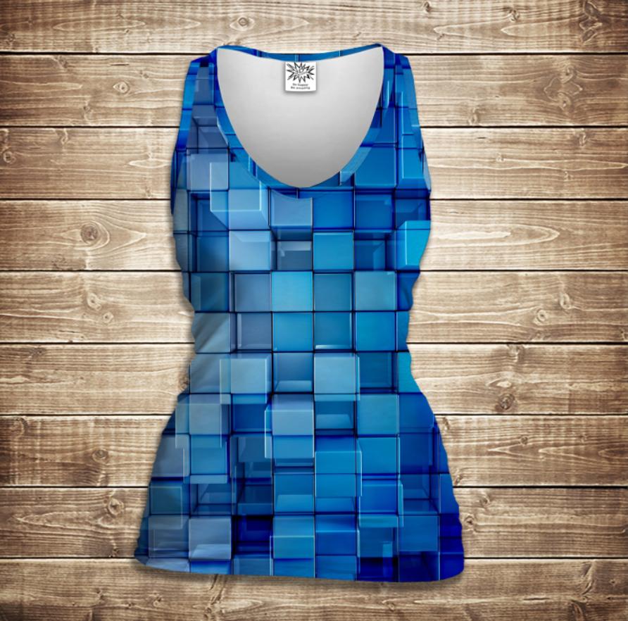 Майка жіноча 3D - Блакитні кубики