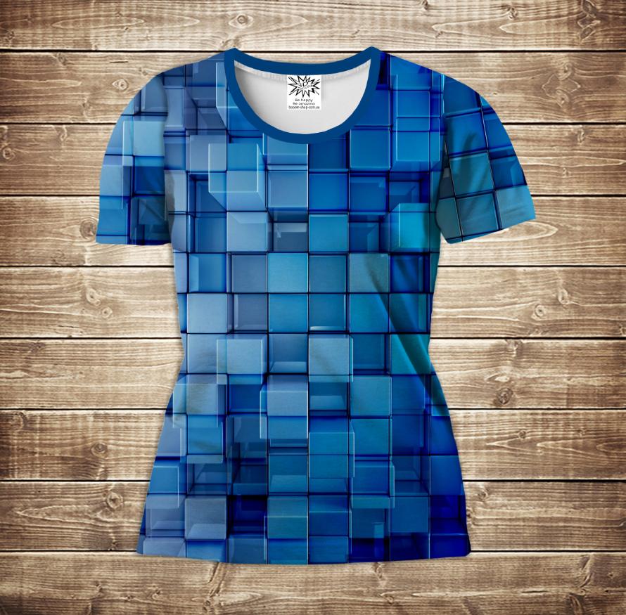 Футболка жіноча 3D -Блакитні кубики