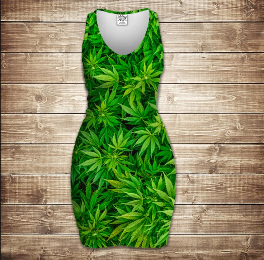 Плаття - майка 3D -   Канабіс