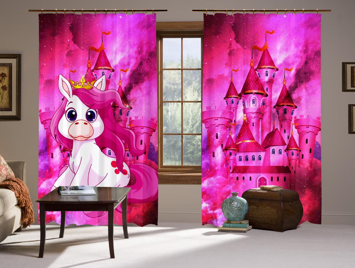 Штори 3D Unicorn & castle in sky