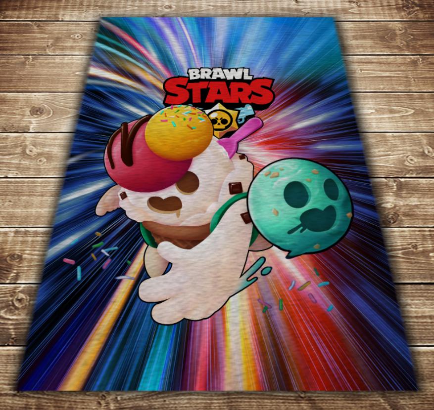 Плед з 3D принтом - Бравл Старс Спайк Ice cream Brawl Stars