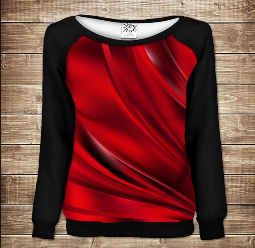 Жіночий світшот - реглан в романтичному стилі з 3D принтом -  Red queen