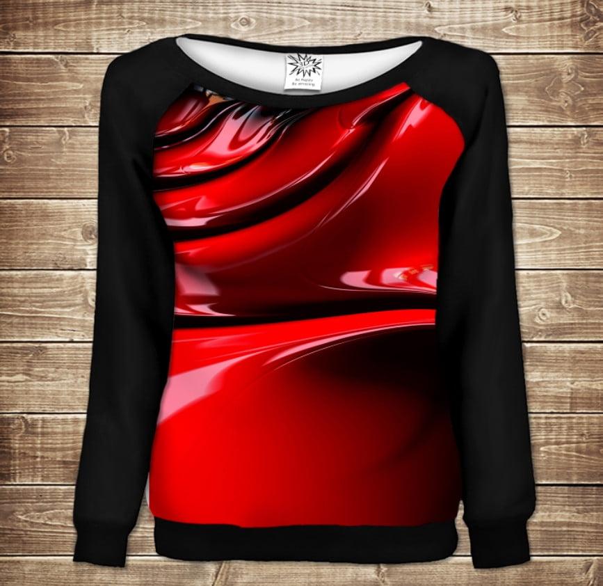 Жіночий світшот - реглан в романтичному стилі з 3D принтом -  Red Paint