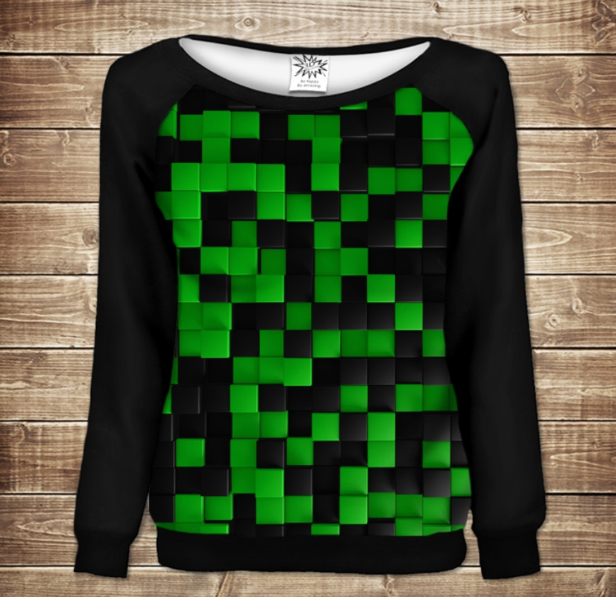 Жіночий світшот - реглан в романтичному стилі з 3D принтом -  Зелений Лабіринт