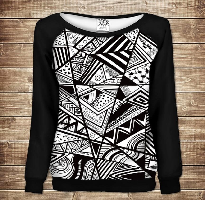 Жіночий світшот - реглан в романтичному стилі з 3D принтом -  Чорно білий геометричний абстрактний принт