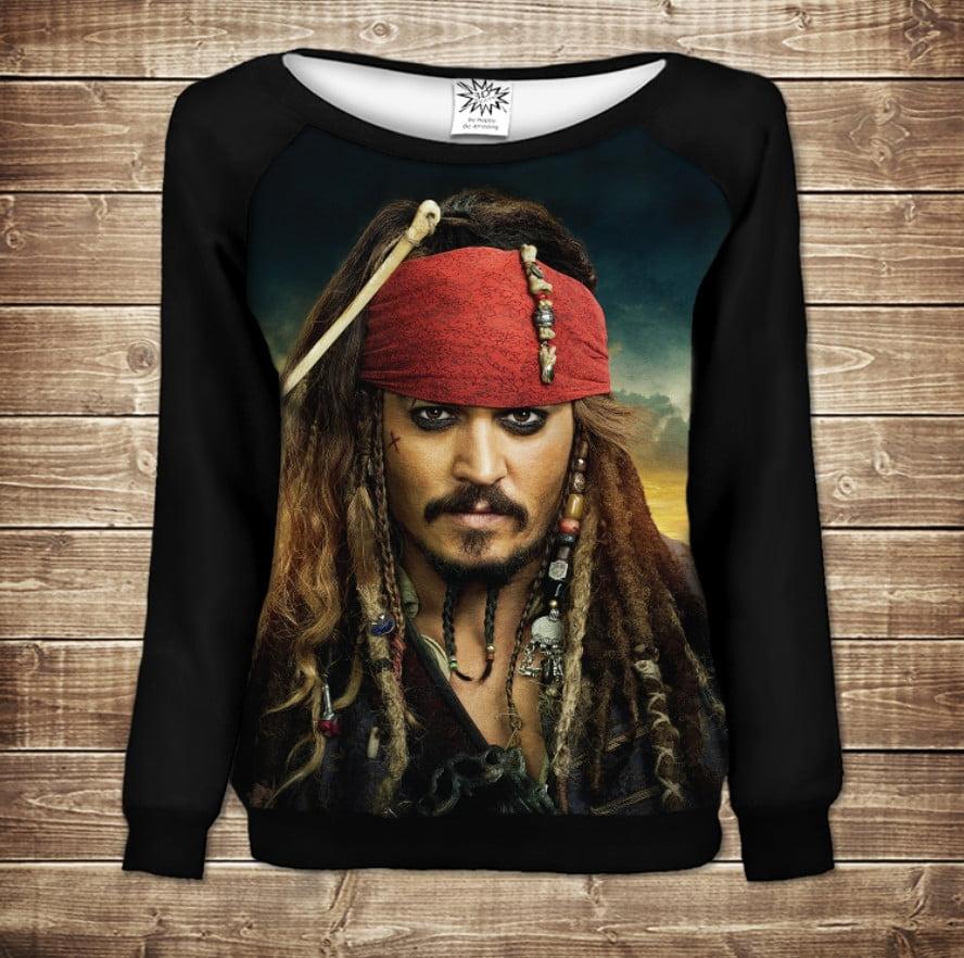 Жіночий світшот - реглан в романтичному стилі з 3D принтом - Капітан Джек Горобець/Jack Sparrow