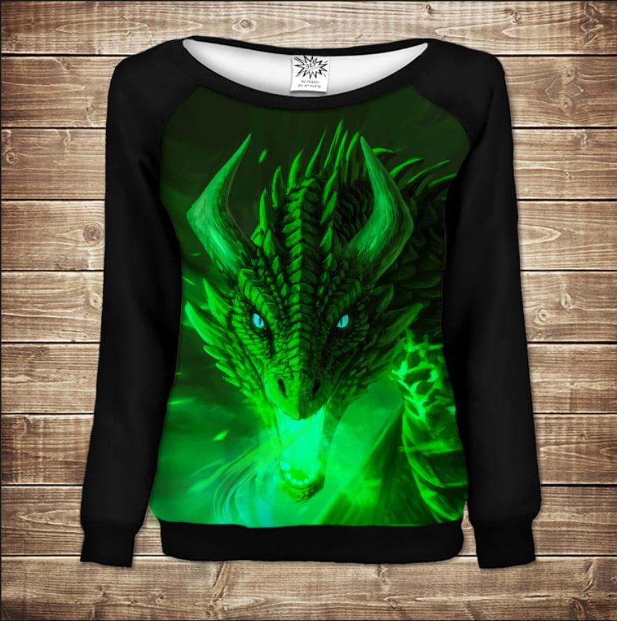 Жіночий світшот - реглан в романтичному стилі з 3D принтом - Зелений Дракон