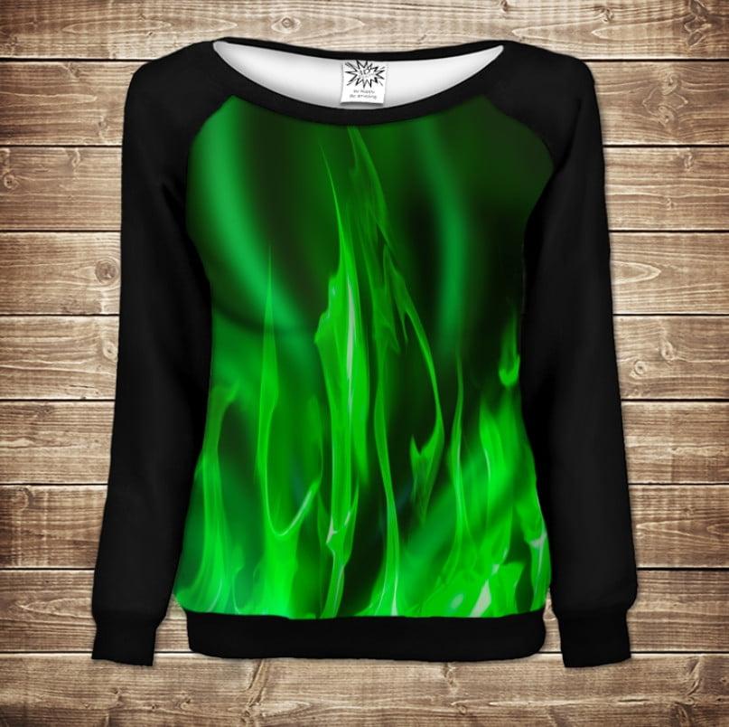 Жіночий світшот - реглан в романтичному стилі з 3D принтом - Зелений вогонь