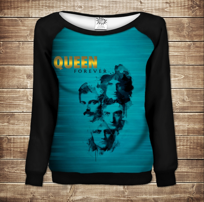 Жіночий світшот - реглан в романтичному стилі з 3D принтом - Queen. Forever