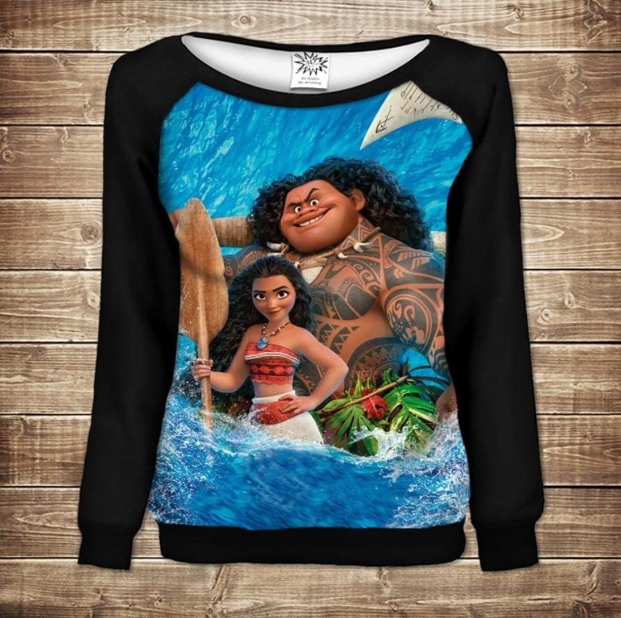 Жіночий світшот - реглан в романтичному стилі з 3D принтом -Moana and Maui in water