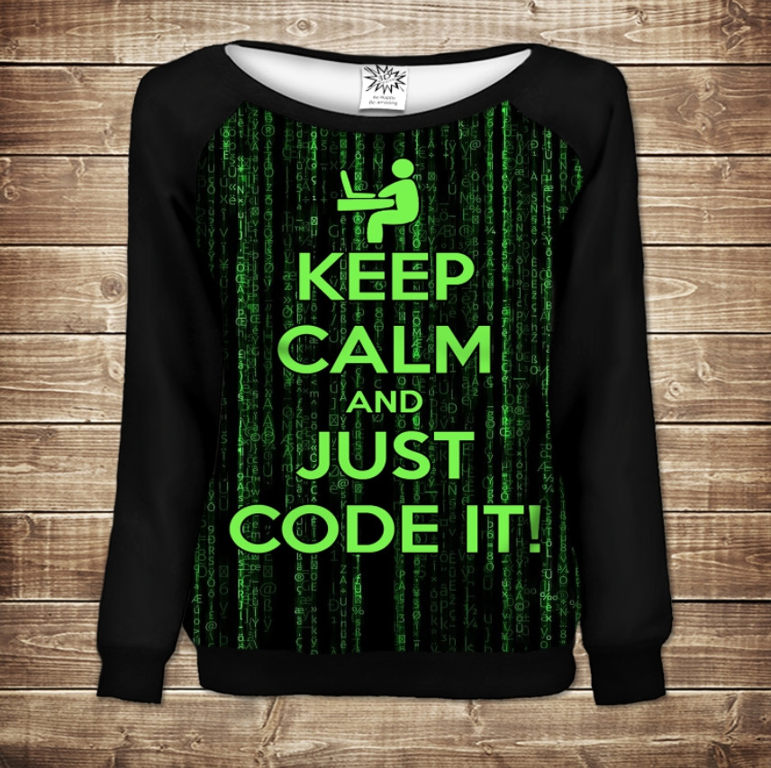 Жіночий світшот - реглан в романтичному стилі з 3D принтом -Keep Calm and Just Code It