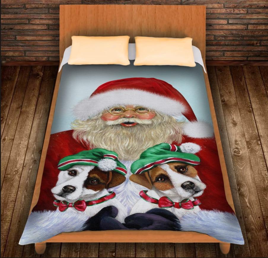 Плед з 3D принтом -Санта і ельфи