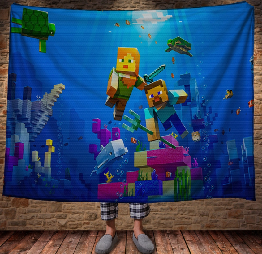 Плед з 3D принтом - Майнкрафт підводний світ