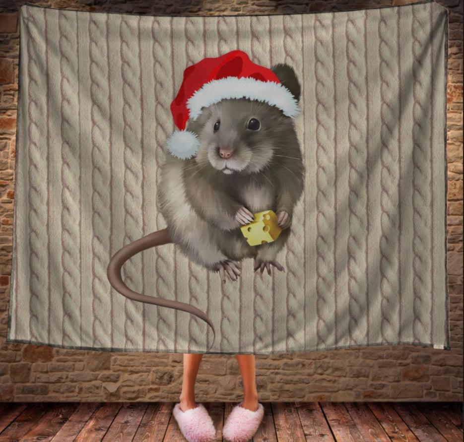 Плед з 3D принтом - Мишка Новий Рік