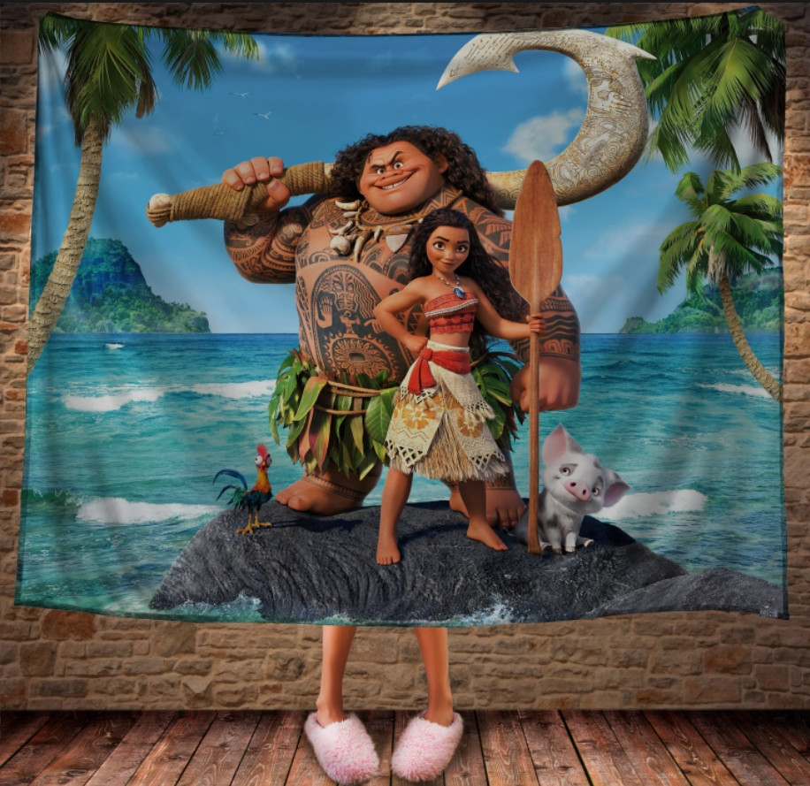Плед з 3D принтом -  Moana and Maui on island