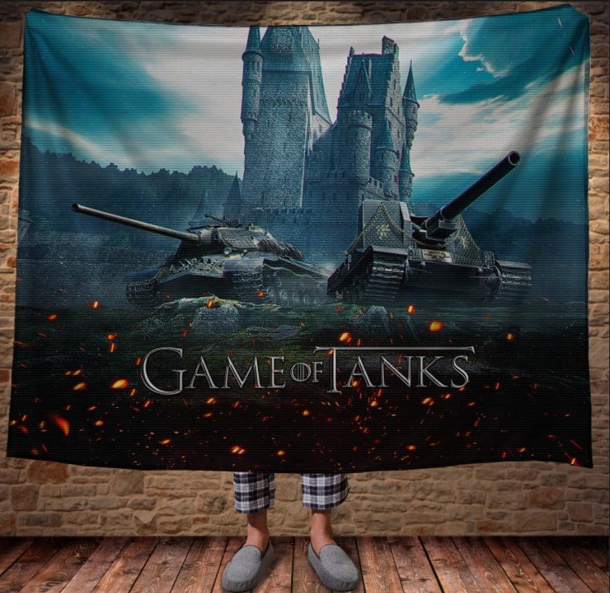 Плед з 3D принтом - Танки Game of tanks