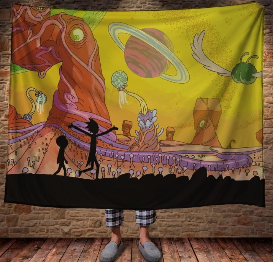 Плед з 3D принтом - Рік і Морті Жовтий космос