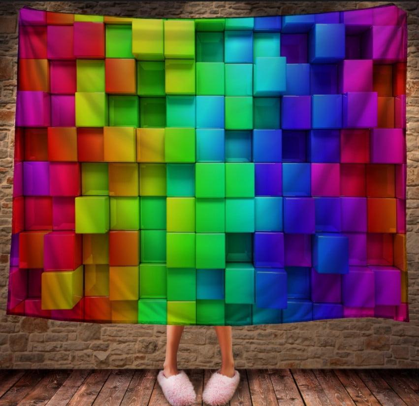 Плед з 3D принтом - Кольорові кубики
