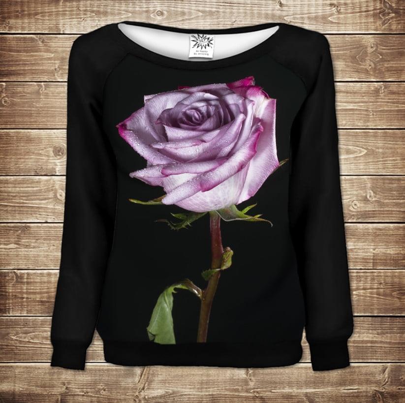Жіночий світшот - реглан в романтичному стилі з 3D принтом -Тендітна троянда