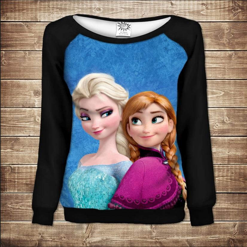 Жіночий світшот - реглан в романтичному стилі з 3D принтом - Frozen Анна і Ельза