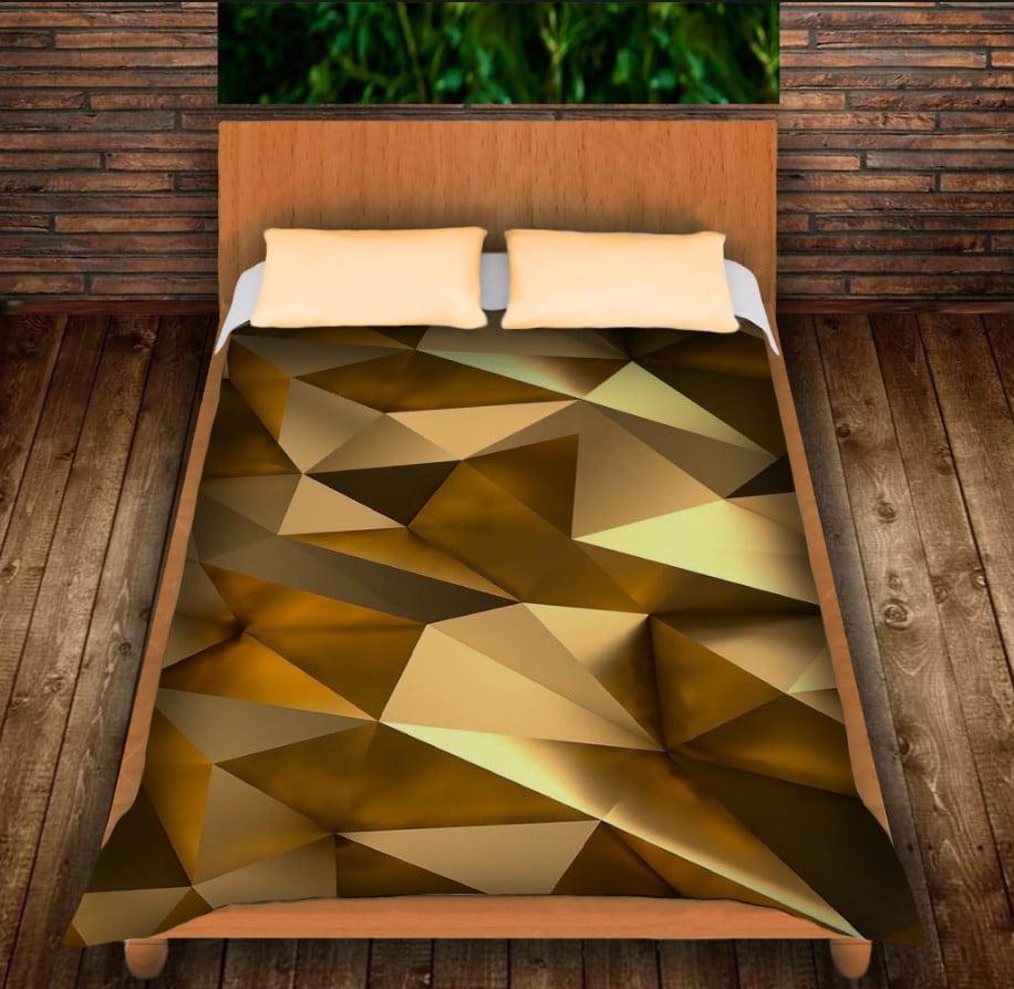 Плед з 3D принтом - Золотий кубізм