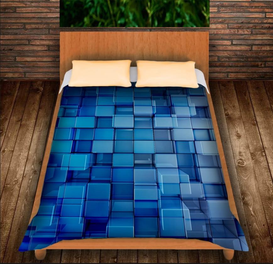 Плед з 3D принтом - Блакитні кубики
