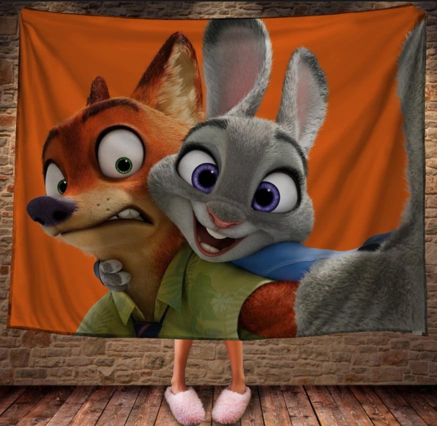 Плед з 3D принтом -Нік і Джуді. Зоотрополіс