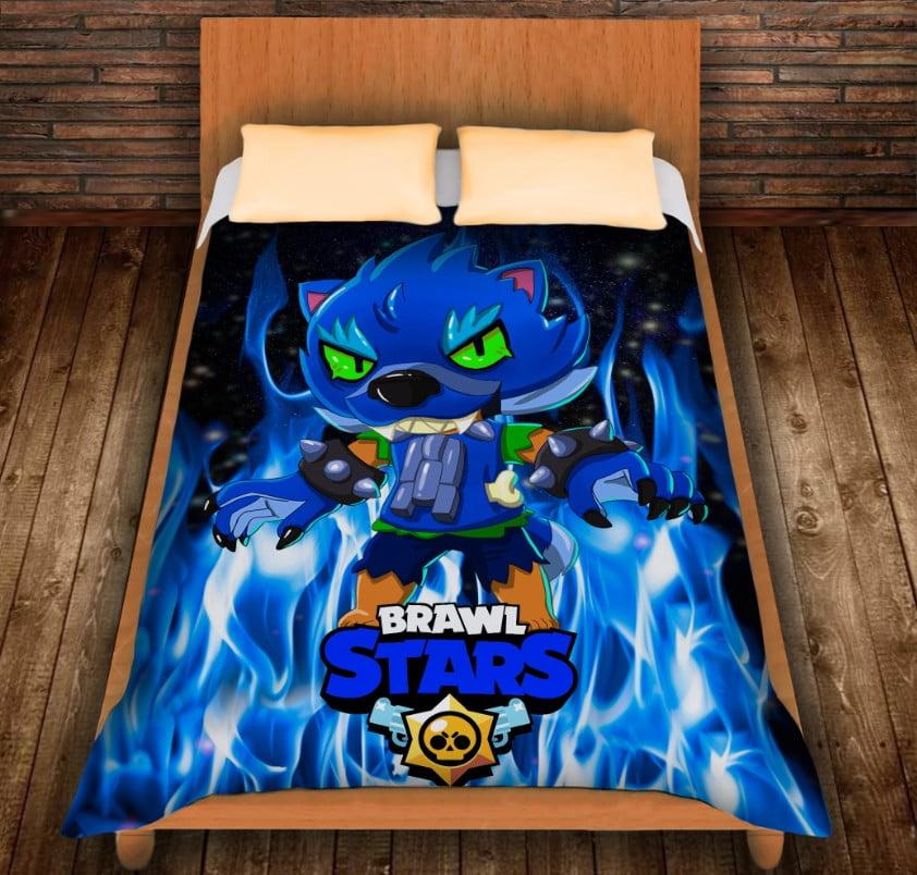 Плед з 3D принтом -Brawl Stars Leon Werewolf in blue fire